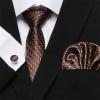 Barna mintás selyemnyakkendő mandzsettagombbal és díszzsebkendővel