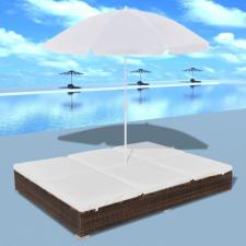 Barna polyrattan napozóágy napernyővel kerti bútor