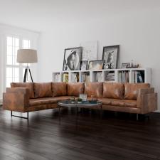barna szövet sarokkanapé bútor