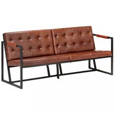 Barna valódi kecskebőr háromszemélyes kanapé bútor