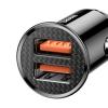 Baseus Circular autós töltő 2USB A+A 30W Quick Charge 3.0 - Fekete