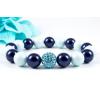 BBH Inspirations Swarovski pastel blue - night blue gyöngy karkötő, akvamarin kristály gömbbel