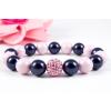 BBH Inspirations Swarovski pastel rose - night blue gyöngy karkötő, light rose kristály gömbbel