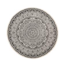 Beliani Különleges Fekete És Krémszínű Mandala Mintás Kerek Szőnyeg ø 120 cm HIZAN lakástextília