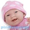 Berenguer élethű játékbaba lány pöttyös ruhában 38 cm