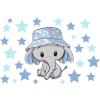Best4Baby Elefánt fiú csillagokkal falmatrica - átlátszó