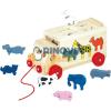 Bino Toys Állatos formaillesztős húzható fa kamion