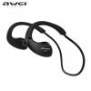 Bluetooth sztereó headset, v4.0, nyakba akasztható, fülkampóval, Multipoint, AWEI, fekete, A885BL_B