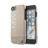 BMW iPhone 6/7/8 Signature Logo Imprint bőr hátlap, tok, bézs