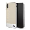 BMW iPhone X Signature Genuine Leather Sand Blasted Aluminum Plate eredeti bőr hátlap, tok, bézs-ezüst