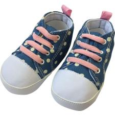 BUBABA babacipő, fűzős 6-9 hó - Farmerkék, fehér pöttyös, rózsaszín fűző gyerek cipő