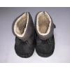 BUBABA babacipő tépőzáras, béléses 6-9 hó - Szürke, zöld cikk-cakk