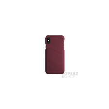 BUGATTI Londra Apple iPhone X valódi bőr hátlap tok kártyatartóval, piros tok és táska