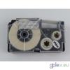 Casio XR-12AX utángyártott feliratozószalag kazetta átlátszó alapon fehér nyomtatás 12 mm * 8m