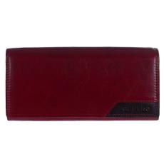 CEFIRO Bordó színű 2 aprótartós bőr pénztárca fekete betéttel Cefiro