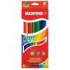 ceruza készlet, kétvégű, háromszögletű, KORES Duo, 12 különböző szín, 12 db/készlet (IK100612)