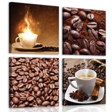Consalnet Vászonkép 4 darabos, Kávé 50x50 cm méretben grafika, keretezett kép