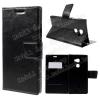 CRAZY notesz tok / flip tok - asztali tartó funkciós, oldalra nyíló, rejtett mágneses záródás, bankkártya tartó zsebekkel - FEKETE - HUAWEI Mate S