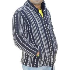 csíkos  vastag férfi kabát nepálból 3 színben M Fekete