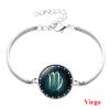 Csillagjegy karkötő, szép zöld medállal, szűz (Virgo)