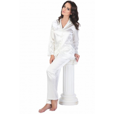 De Lafense Classic női fehér szatén pizsama, hosszú XL