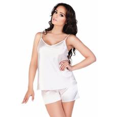 De Lafense Classic női szatén pizsama, fehér XL