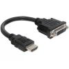 DELOCK 65327 HDMI apa - DVI 24+1 anya Adapter kábel 20 cm - Fekete