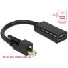 DELOCK Adapter mini Displayport 1.2-dugós csatlakozó csavarral > HDMI-csatlakozóhüvely 4K aktív feke