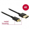DELOCK Cable High Speed HDMI with Ethernet HDMI-A male > HDMI Micro-D male 3D 4K 1,5 m Slim Premium