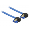 DELOCK Cable SATA 6 Gb/s double receptacle downwards angled 20cm blue