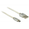 DELOCK Data and Charging Cable USB 2.0 Type-A male > USB 2.0 Micro-B with textile shielding White
