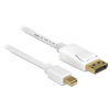 DELOCK Displayport mini -> Displayport M/M video jelkábel 1m fehér