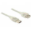 DELOCK Extension cable USB 2.0 Type-A male > USB 2.0 Type-A female 1m transparen