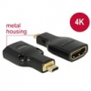 DELOCK HDMI with Ethernet adapter Micro-D (M) - A (F) 4K