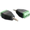 DELOCK Jack stereo 2,5mm (4pin) -> Terminal block 4pin M/F adapter fekete