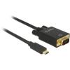DELOCK Kábel USB Type-C csatlakozódugó > VGA csatlakozódugó (DP váltakozó) Full HD 1080p,2 m,fekete