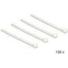DELOCK Kioldható kábelkötegelők, fehér szín, 150 x 7,2 mm (H x Sz), 100 darab