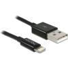 DELOCK Lightning/USB adat- és töltõkábel - Fekete - 1m (83561)