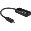 DELOCK MHL -> HDMI M/F adapter 0.22m fekete