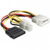 DELOCK Molex Power 4pin -> 1 SATA Power 15pin 1 Power 4pin M/F tápkábel 0.15m