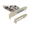 DELOCK PCI-e Bővítőkártya 3x külső + 1x belső USB 3.0 port + Low Profile - DL89281