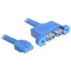 DELOCK USB 3.0 pinheader 19pin -> 2db USB 3.0 A F/F adatkábel 0.45m fekete