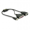 DELOCK USB A -> Serial RS-232 Parallel IEEE-1284 adapter 0.35m M/F/M fekete