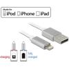DELOCK USB adat- és töltőkábel iPhone™, iPad™ és iPod™ 1 m készülékhez fehér LED-jelzéssel