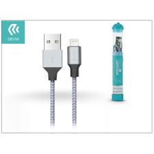 Devia Apple iPhone 5/5S/5C/SE/iPad 4/iPad Mini USB töltő- és adatkábel - 1 m-es vezetékkel - Devia Tube Lightning USB 2.4A - silver/blue tablet kellék