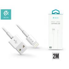 Devia Apple iPhone 5/5S/5C/SE/iPad 4/iPad Mini USB töltő- és adatkábel 2 m-es vezetékkel - Devia Smart Cable Lightning - white tablet kellék