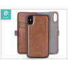 Devia Apple iPhone X oldalra nyíló flipes tok hátlappal + kártyatartóval - Devia Magic Leather 2in1 - brown
