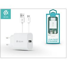 Devia Devia Smart USB hálózati töltő adapter + micro USB kábel 1 m-es vezetékkel - Devia Smart USB Fast Charge for Android - 5V/2,1A - white audió/videó kellék, kábel és adapter