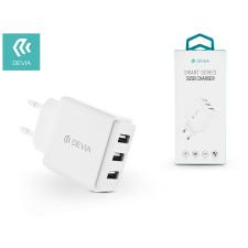 Devia Devia univerzális USB hálózati töltő adapter 3 x USB - 5V/3,4A - Devia Smart Series 3 USB Charger - white tablet kellék