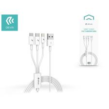 Devia Devia USB töltő- és adatkábel 1,2 m-es vezetékkel - Devia Smart Series 3in1 for Lightning/Android/Type-C - 2A - white kábel és adapter